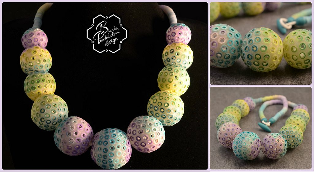 Green polymer clay bubbles beads - beaded jewelry