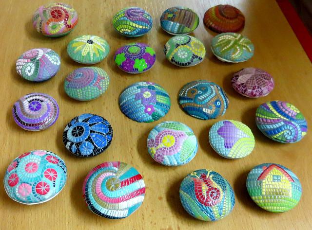 Hollow lentil micro mosaic beads - polymer clay diy - handmade