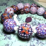 Polymer clay beads - red & white canes fimo - diy jewelry