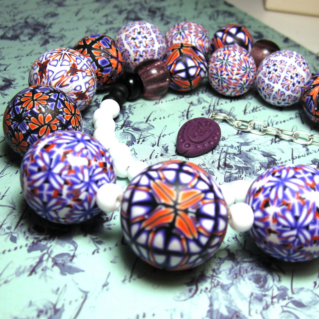 Polymer clay beads - Oriental