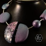 Polymer clay bubbles beads - beaded jewelry - fimo set necklace + earrings