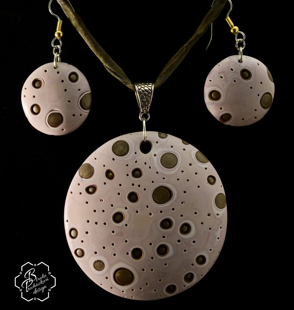 Polymer clay bubbles beads - beaded jewelry set