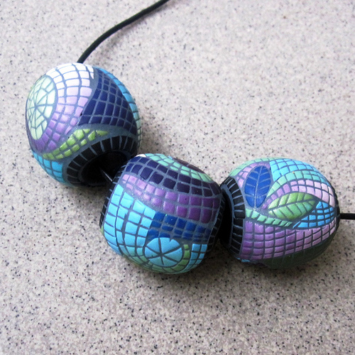 Polymer clay - mosaic hollow big beads