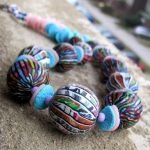 Africian Hollow bead - polymer clay alcohool ink