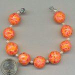 Long polymer clay mosaic beads bracelet