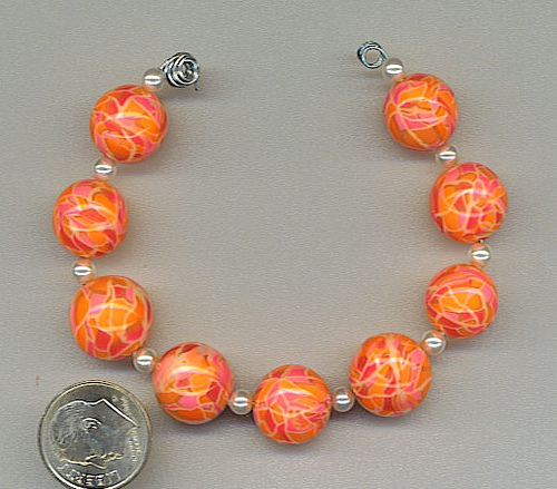 Clay orange mosaic beads