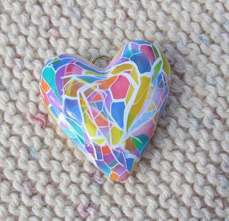 Faux glass heart shape polymer clay mozaic bead