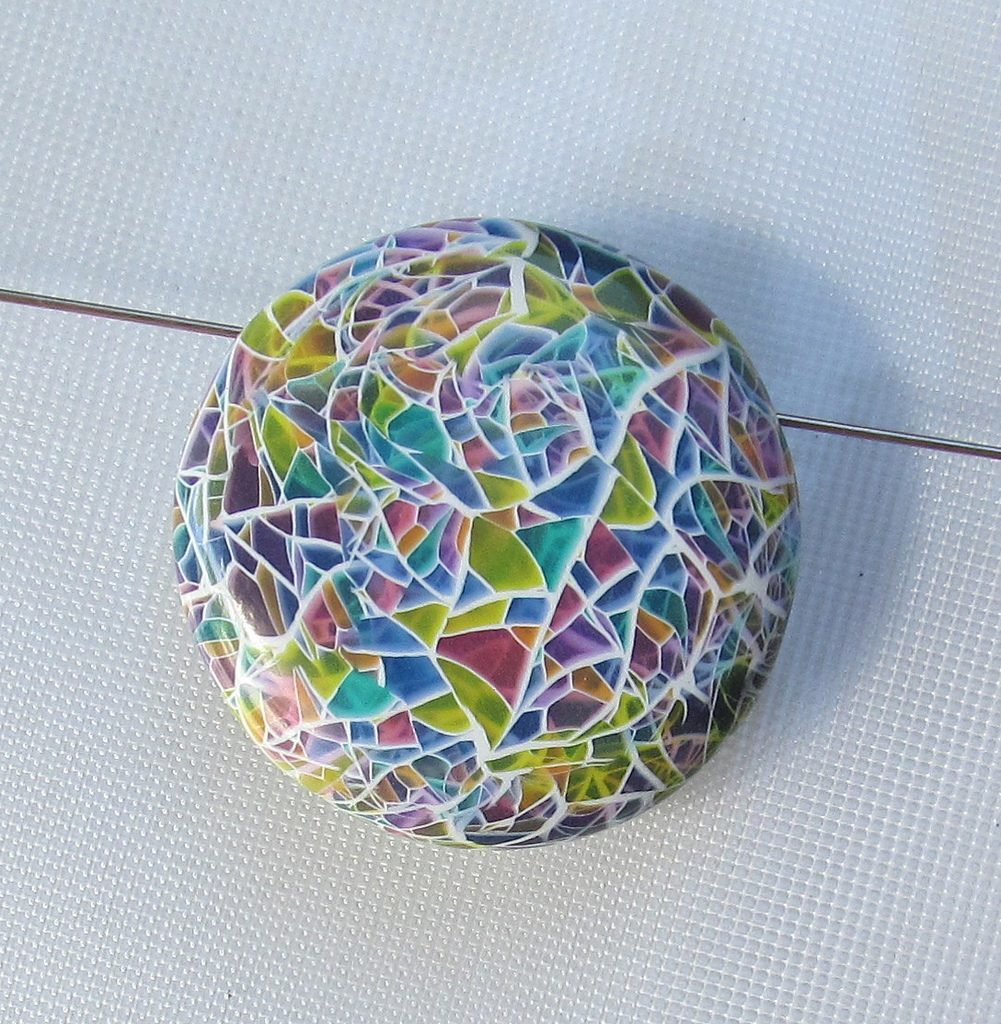 Faux glass polymer clay mozaic bead
