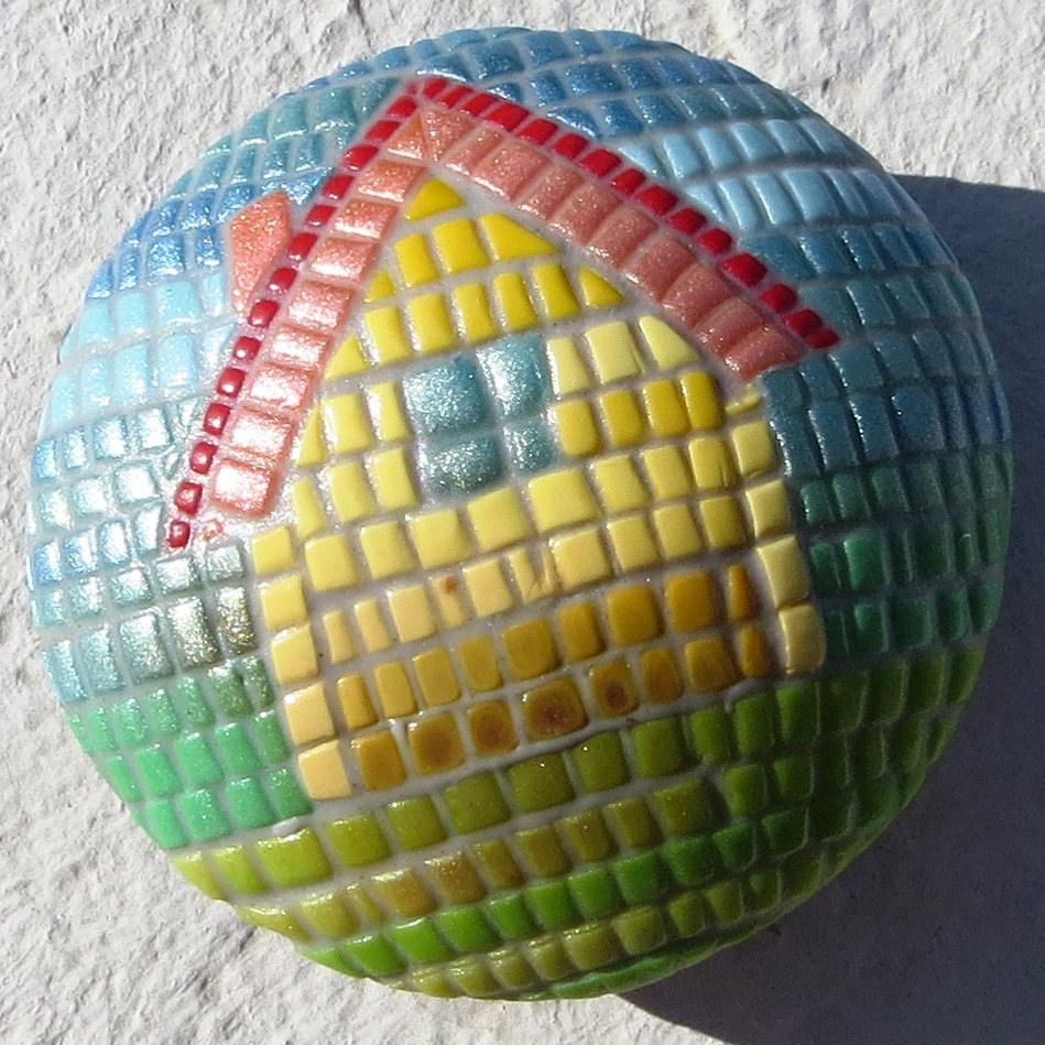 Polymer caly mosaic - house bead