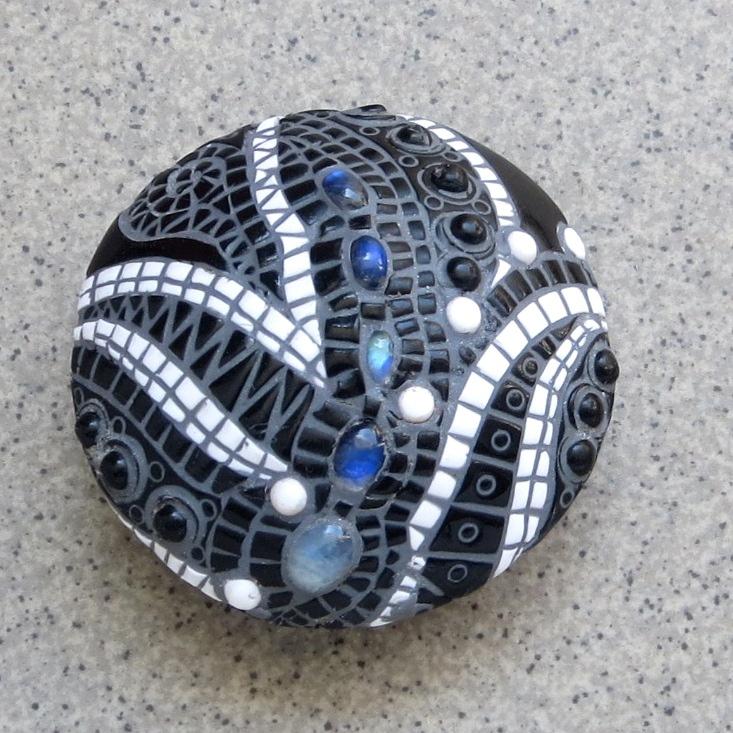 Polymer clay bead - black mosaic fimo - diy jewelry