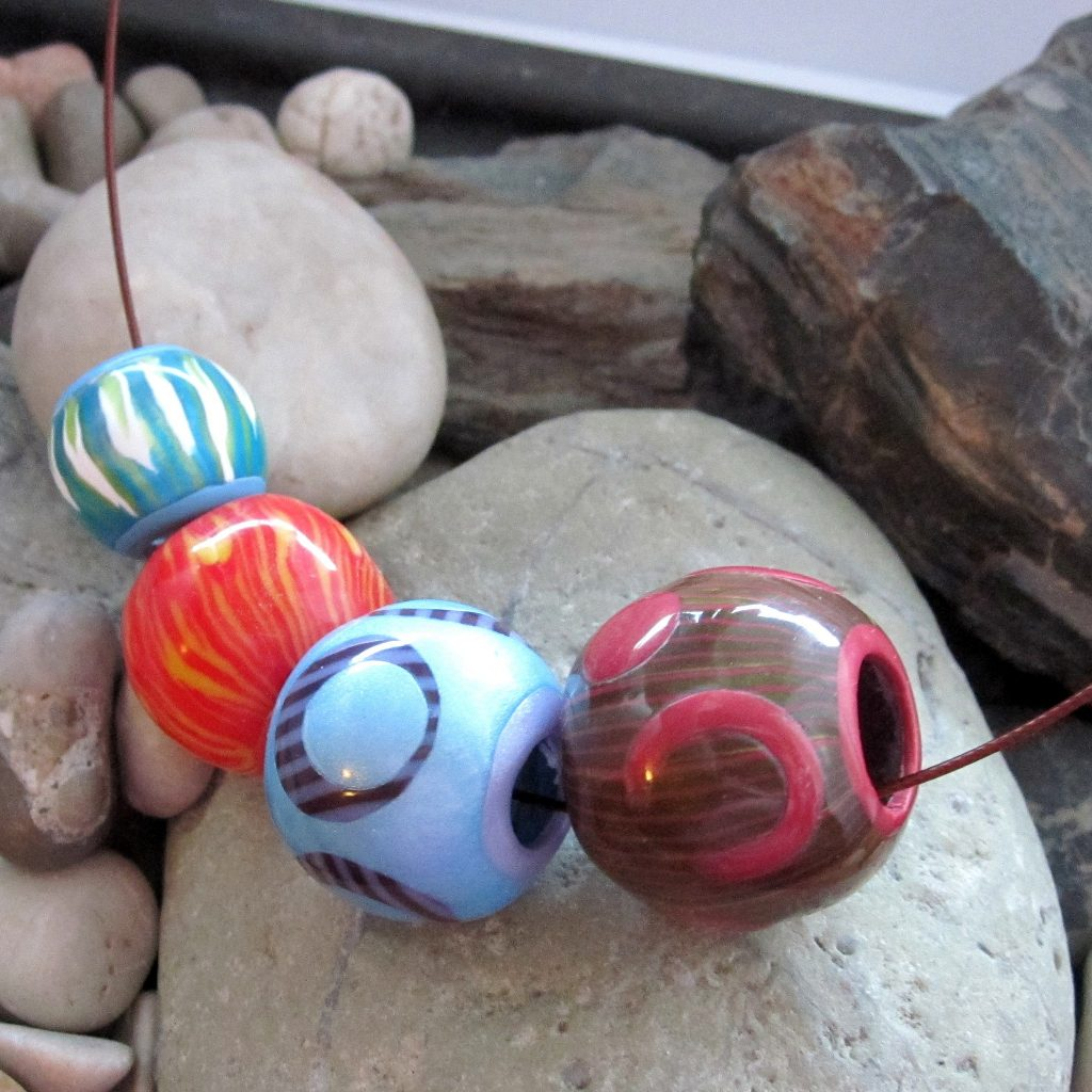 Polymer clay bead - canes - Crazy big hollow bead necklace fimo - diy jewelry