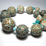 Polymer clay bead - blue canes necklace fimo - diy jewelry