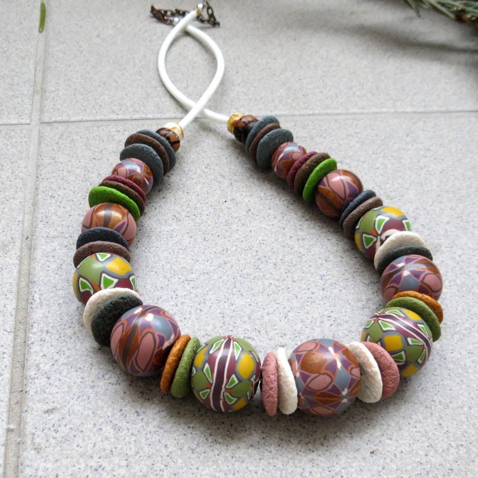 Polymer clay bead - canes necklace fimo - diy jewelry