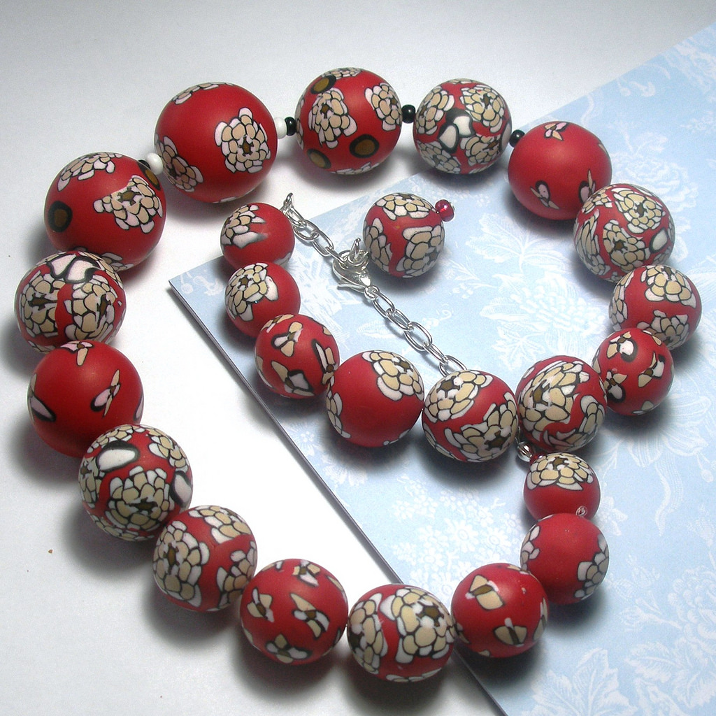 Polymer clay bead - canes - red fimo - diy jewelry