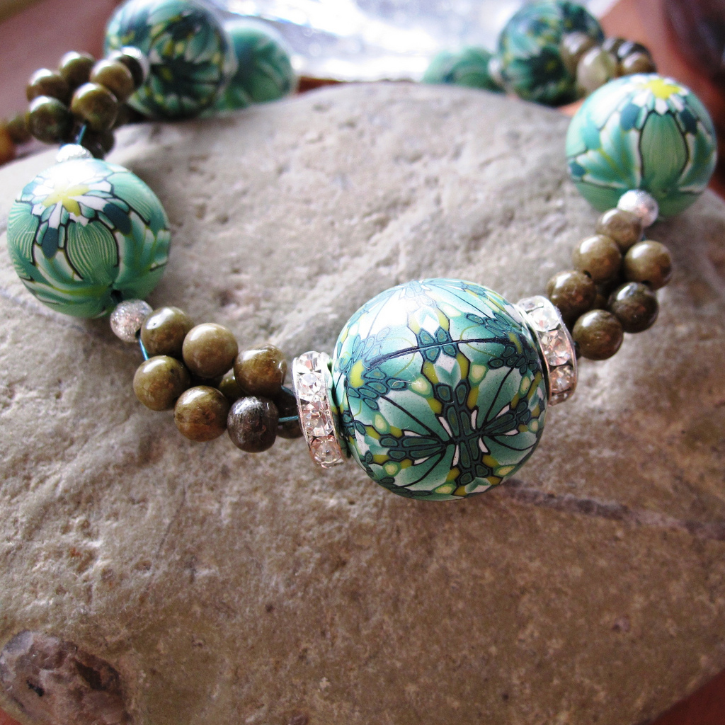 Polymer clay bead - green canes necklace fimo - diy jewelry