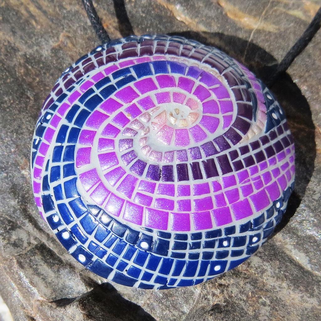 Polymer clay bead mosaic - blue & mauve fimo - diy jewelry