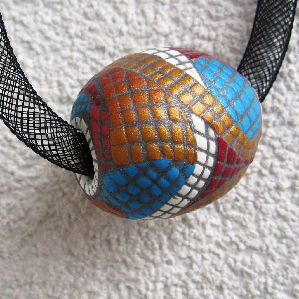 Polymer clay bead - mosaic fimo - diy jewelry