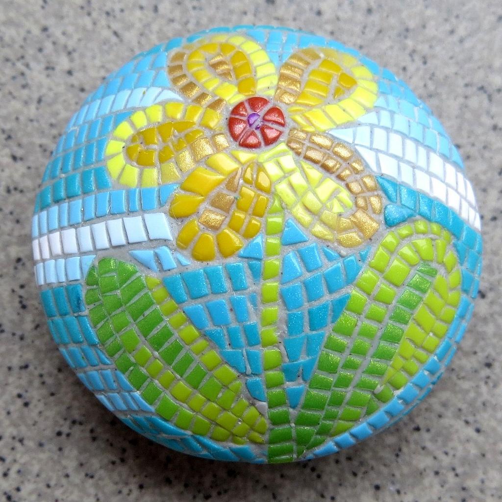Polymer clay bead - mosaic flower fimo - diy jewelry