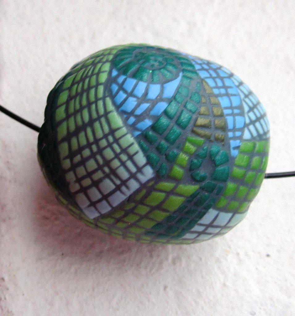 Polymer clay bead mosaic - green fimo - diy jewelry