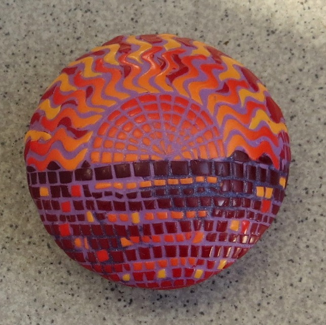 Polymer clay bead mosaic - yellow & red fimo - diy jewelry