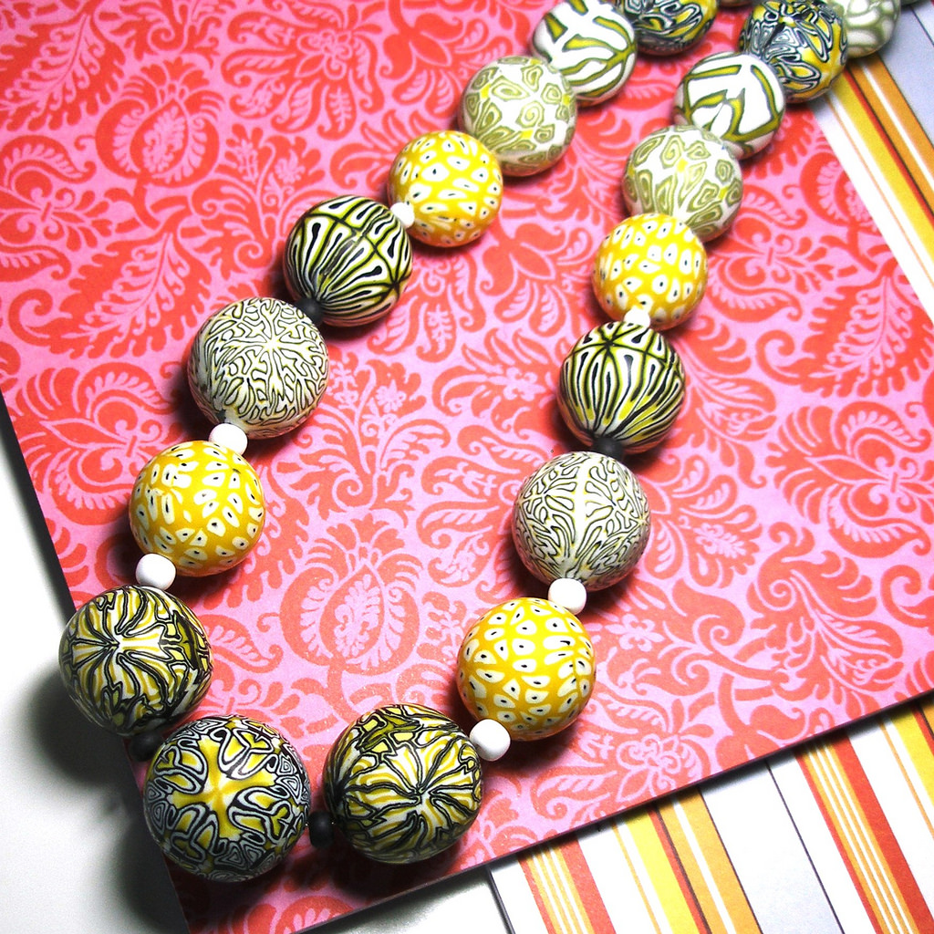 Polymer clay bead - yellow canes necklace fimo - diy jewelry