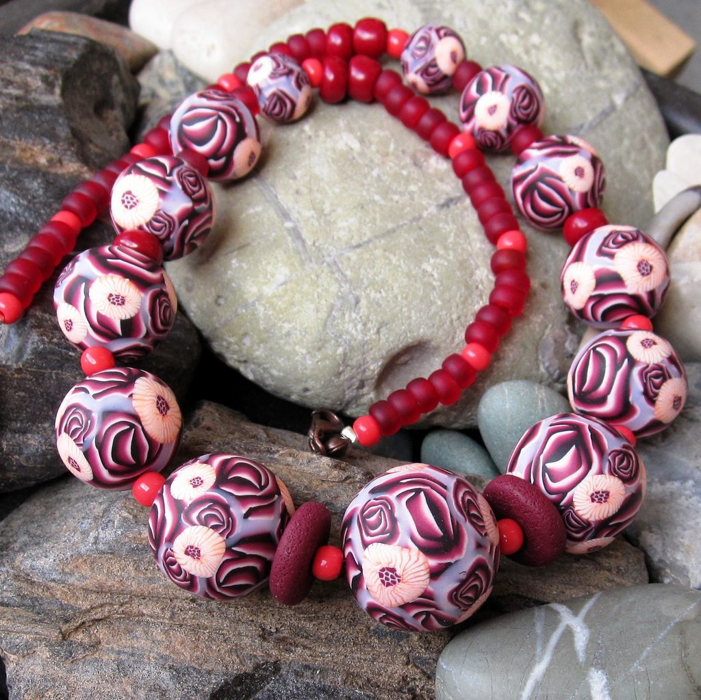 Polymer clay beads - canes necklace fimo - diy jewelry