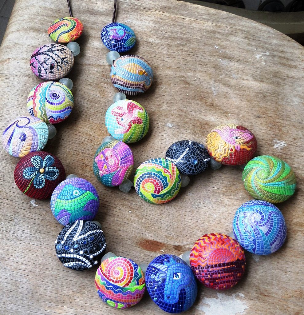 Polymer clay beads necklace mosaic - fimo - diy jewelry