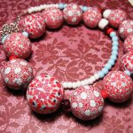polymer clay beads – red & white canes fimo – diy jewelry
