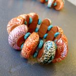 Polymer clay big hollow bead necklace