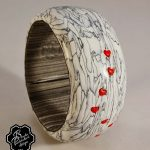 Polymer clay bracelet bangle - grey fimo with small heart
