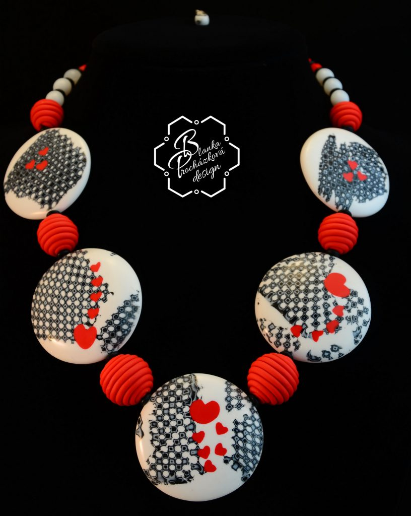 Polymer clay large beads necklace - grey fimo with small heart