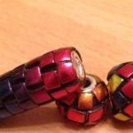 Polymer clay blue mosaic beads