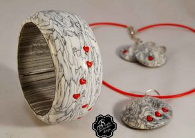 Polymer clay jewelry with hearts – romantic set of handmade jewelry
