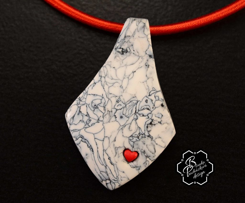 Polymer clay necklace pendant - grey fimo with small heart