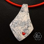 Polymer clay necklace pendant +earrings +bangle - clay set - grey fimo with small heart