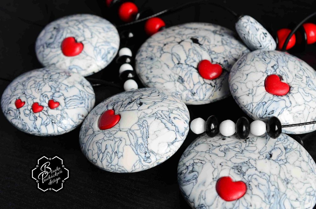 Polymer clay necklace + pendants - grey fimo with small heart
