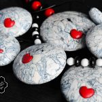 Polymer clay necklace +beads - grey fimo with small heart
