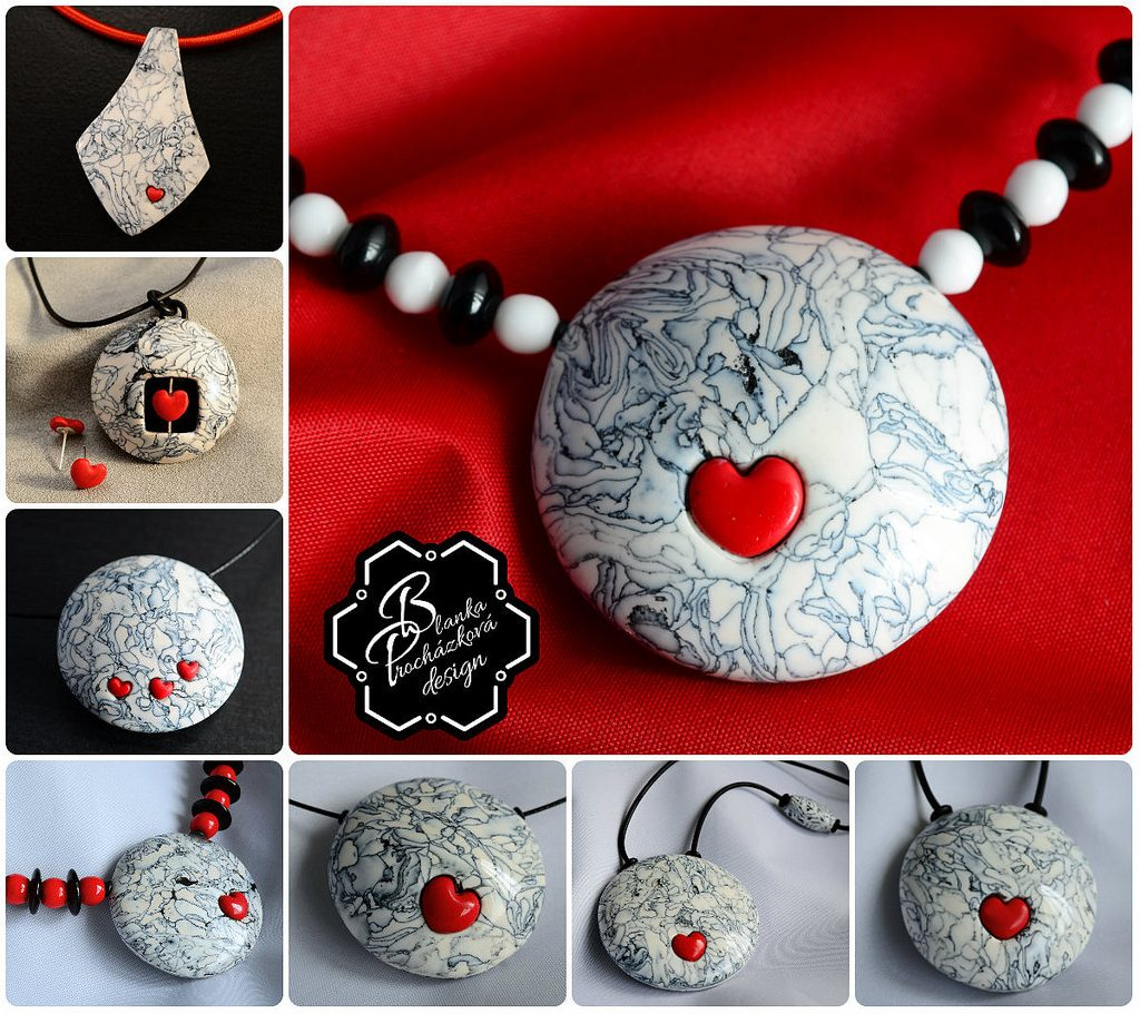 Polymer clay romantic jewelry - valentine day present - round pendant necklace - grey fimo with small heart