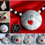 Polymer clay pendant- grey fimo with small heart - valentine day present