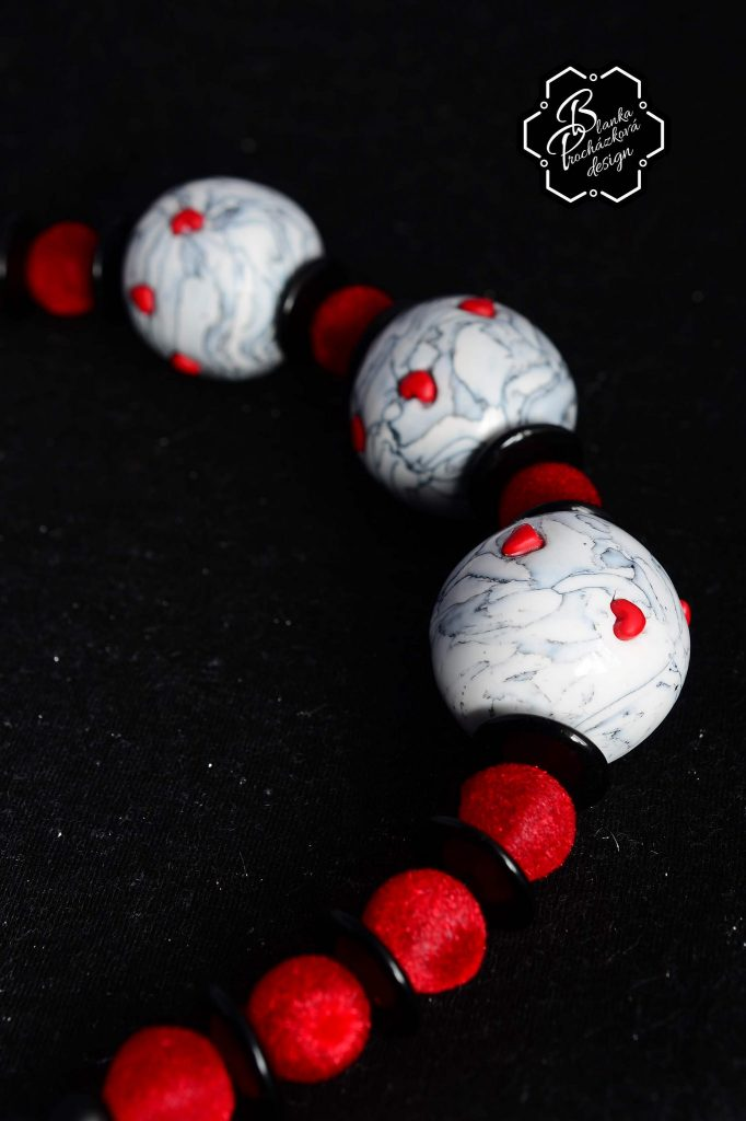 Polymer clay round beads- grey fimo with small heart