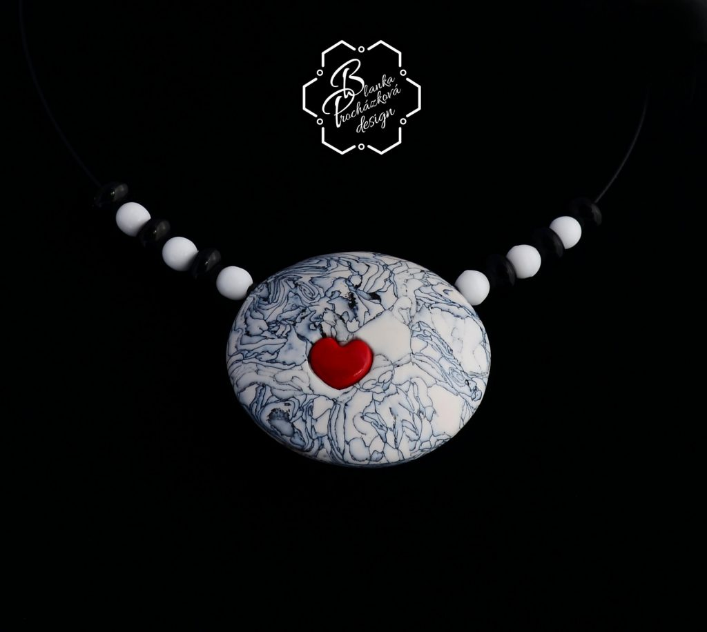Polymer clay round pendant necklace- grey fimo with small heart