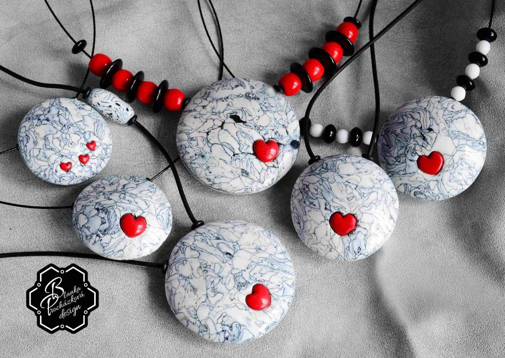 Polymer clay round pendants- grey fimo with small heart - valentine day present.jpg