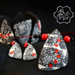 Polymer clay valentine day present - earrings - grey fimo jewelry decorated with small hearts .jpg