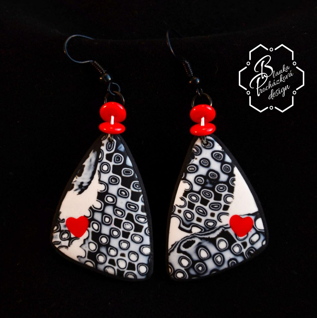 Polymer clay valentine day present - earrings - grey fimo jewelry with small heart