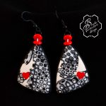 Polymer clay valentine day present - earrings + beaads necklace - grey fimo jewelry with small heart .jpg