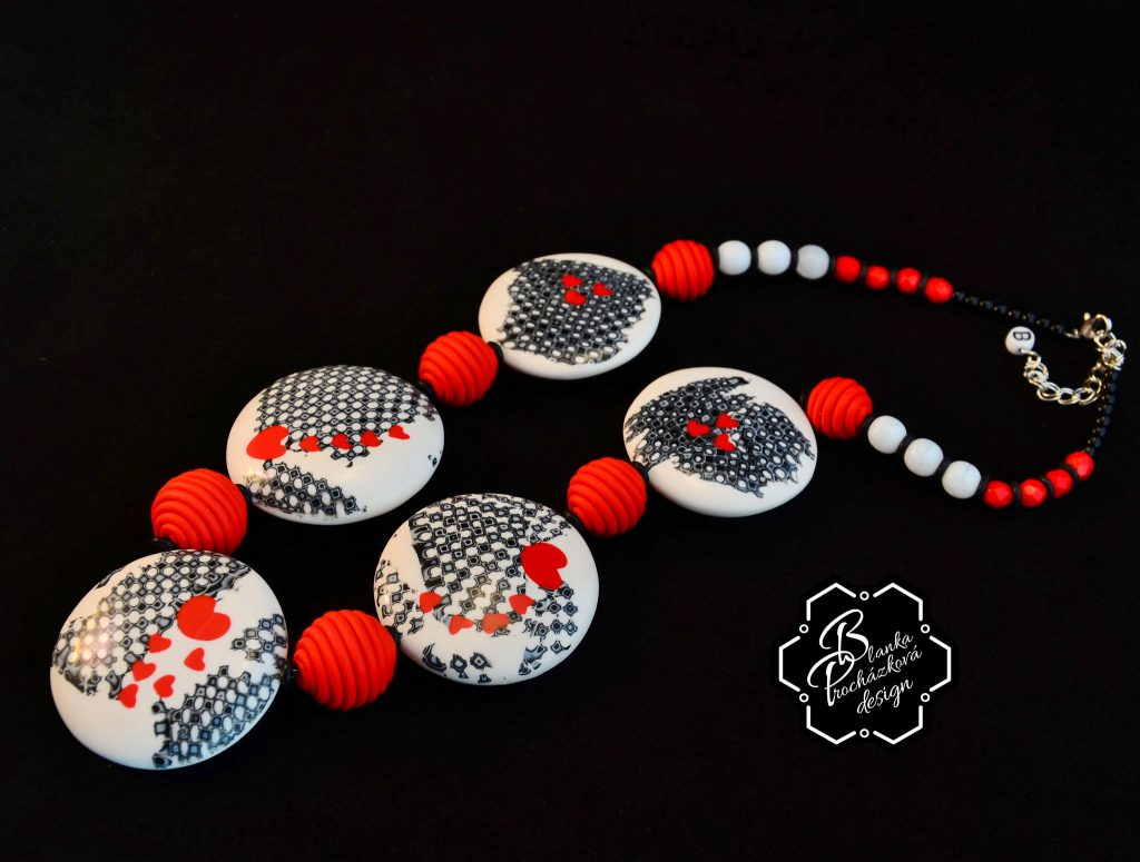 Polymer clay valentine day present - necklaces- grey fimo with small heart