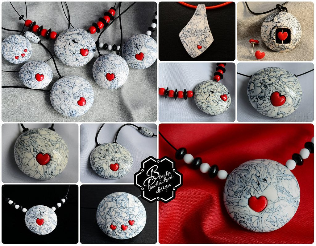 Polymer clay valentine day present - round pendants- grey fimo with small heart