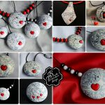Polymer clay valentine day present - square earrings - grey fimo jewelry with small heart .jpg