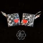 polymer clay valentine day present – square earrings – grey fimo jewelry with small heart .jpg
