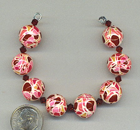 Red colored polymer clay mosaic beads